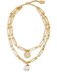 Karine Sultan Layered Pendant Necklace - Metallic