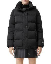 Burberry Detachable Hood Monogram Econyl® Puffer Jacket - Black