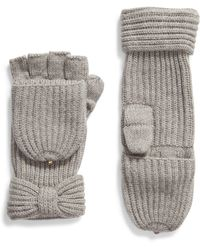 Kate Spade Solid Bow Pop Top Gloves - Gray