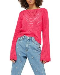 TOPSHOP | Tie Back Bell Sleeve Sweater | Lyst