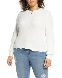 BP. Scallop Hem Sweater - White