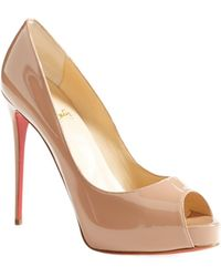 Christian Louboutin Prive Open-Toe Patent-Leather Pumps - Natural