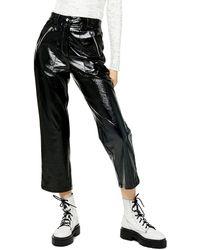 TOPSHOP Black Faux Leather Vinyl Straight Leg Pants