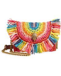 Kurt Geiger Mini Kensington Rainbow Raffia Shoulder Bag - Multicolor