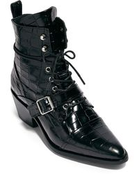 AllSaints Katy Croc Embossed Leather Boot - Black