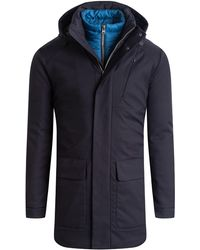 Bugatchi Water Resistant Hooded Parka - Blue