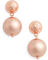 Tory Burch - Logo Faux Pearl Drop Earrings - Lyst