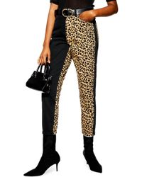 TOPSHOP - Leopard Panel Mom Jeans - Lyst