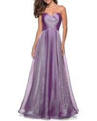 La Femme - 27515 Strapless Sweetheart Metallic Chiffon Prom Dress - Lyst