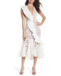 Bronx and Banco - Rocha Waterfall Ruffle Lace Midi Dress - Lyst