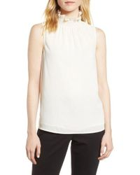 Vince Camuto - Ruffle Neck Blouse - Lyst