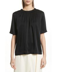 Vince   Gathered Neck Short Sleeve Top   Lyst