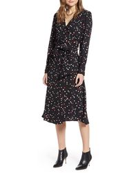 Halogen Halogen Long Sleeve Wrap Midi Dress - Black