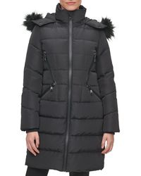 Karl Lagerfeld Water Resistant Down & Feather Parka With Faux Fur Trim - Black