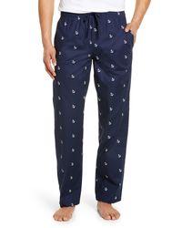 Nordstrom Men's Shop Poplin Pajama Pants - Blue