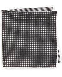 Nordstrom Panel Silk Pocket Square - Black