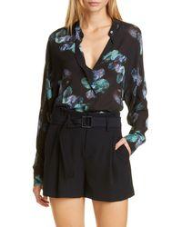 Vince - Painted Floral Silk Blouse - Lyst