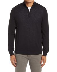 Nordstrom Quarter Zip Cashmere Sweater - Black