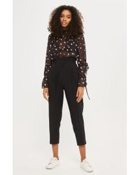 TOPSHOP | Pleated Waist Peg Trousers | Lyst