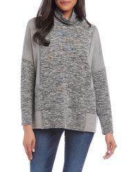 Karen Kane Colour Block Turtleneck Sweatshirt - Gray