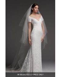 Watters - Visconti Short Sleeve Lace Gown - Lyst