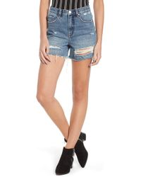 Blank NYC - Ripped High Waist Denim Mom Shorts - Lyst