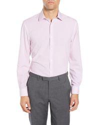 W.r.k. Slim Fit Performance Stretch Check Dress Shirt - Pink