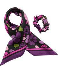 Kate Spade Spade Clover Patchwork Silk Hair Tie - Black
