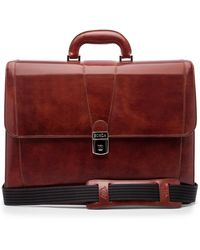 Bosca Leather Double Gusset Briefcase - Brown