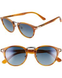 Persol - 49mm Polarized Round Sunglasses - Striped Brown/ Blue Gradient - Lyst