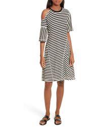Jason Wu | Stripe Jersey Cold Shoulder Dress | Lyst