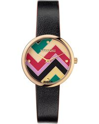Missoni M1 Joyful Chevron Dial Leather Strap Watch - Multicolor