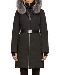 SOIA & KYO - Slim Fit Water Resistant Down Jacket With Genuine Fox Fur Trim - Lyst