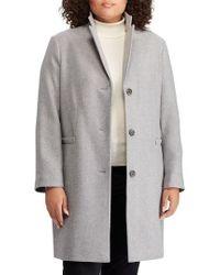 Lauren by Ralph Lauren - Herringbone Wool Blend Reefer Coat - Lyst