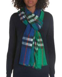 Burberry - Rainbow Giant Check Wool & Silk Scarf - Lyst