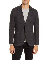 L.B.M. 1911 Trim Fit Herringbone Wool & Cotton Sport Coat - Black