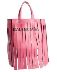 Balenciaga - Extra Small Laundry Logo Fringe Calfskin Tote - Lyst