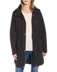 Cole Haan Packable Rain Jacket With Removable Hood, Black