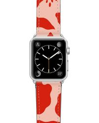 Casetify Red Abstract Saffiano Faux Leather Apple Watch Strap - Multicolor