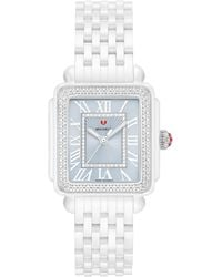 Michele Deco Madison Mid Diamond Watch Head & Ceramic Bracelet - Multicolour