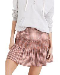 Madewell - Gingham Seersucker Smocked Miniskirt - Lyst