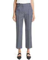 Fendi Gingham Wool Crop Bootcut Pants - Blue