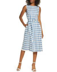 Donna Ricco Sleeveless Cotton Gingham Dress - Blue