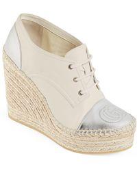 Gucci Pilar Metallic Leather Lace-up Wedge Platform Espadrilles - White