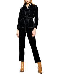 TOPSHOP - Denim Boiler Suit - Lyst