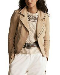 Polo Ralph Lauren Leather Moto Jacket - Natural