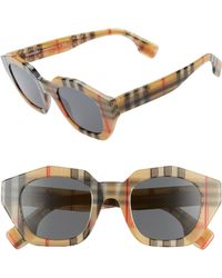 5b38015b7bd Lyst - Burberry Check Detail Round Frame Sunglasses in Brown