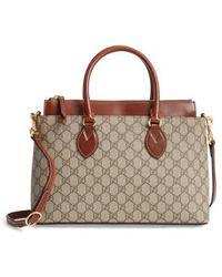 Gucci - Small Top Handle Gg Supreme Canvas & Leather Tote - Lyst
