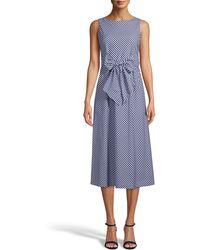 Anne Klein Gingham Cotton Midi Dress - Purple