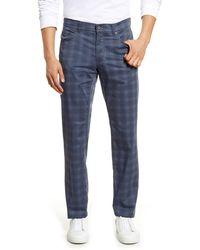 Brax Cooper Fancy Ultralight Plaid Straight Leg Pants - Blue